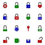 Grupo do ícone da cor do cadeado Foto de Stock Royalty Free