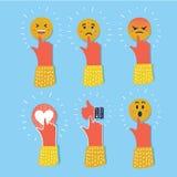 Grupo do ícone da cor das reações do emoticon de Emoji Coleção social da expressão do sorriso ilustração stock