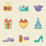 Grupo do ícone da cor do casamento Imagens de Stock Royalty Free