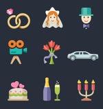 Grupo do ícone da cor do casamento Fotografia de Stock