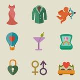 Grupo do ícone da cor do casamento Imagem de Stock Royalty Free