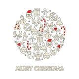 Grupo do ícone da cor do Natal redondo ilustração stock