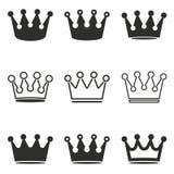 Grupo do ícone da coroa Imagens de Stock Royalty Free