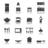 Grupo do ícone da cozinha Fotografia de Stock
