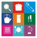 Grupo do ícone da cozinha Fotos de Stock Royalty Free