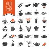 Grupo do ícone da cozinha e do alimento Imagens de Stock Royalty Free