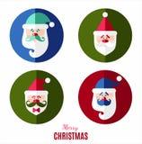 Grupo do ícone da decoração de Papai Noel Fotos de Stock