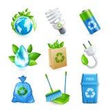 Grupo do ícone da ecologia e do desperdício ilustração do vetor