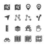 Grupo do ícone da edição do mapa, vetor eps10 Fotografia de Stock