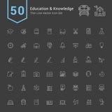 Grupo do ícone da educação e do conhecimento 50 linha fina ícones do vetor ilustração do vetor