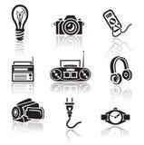 Grupo do ícone da eletrônica Sinal preto no fundo branco Imagens de Stock