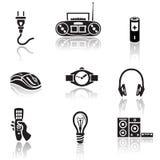 Grupo do ícone da eletrônica Sinal preto no fundo branco Fotografia de Stock