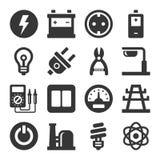 Grupo do ícone da eletricidade ilustração royalty free