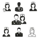 Grupo do ícone da enfermeira Fotografia de Stock Royalty Free