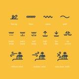 Grupo do ícone da escola da ressaca, baixo, maré alta, corrente de rasgo, vento terrestre a pouca distância do mar ilustração stock