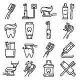 Grupo do ícone da escova de dentes, estilo do esboço ilustração do vetor