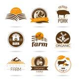 Grupo do ícone da exploração agrícola e do açougue Foto de Stock Royalty Free