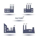 Grupo do ícone da fábrica Fotos de Stock