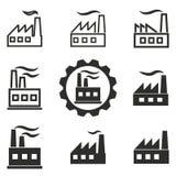 Grupo do ícone da fábrica Fotografia de Stock