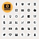 Grupo do ícone da finança do negócio e da finança Fotos de Stock