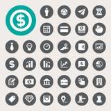 Grupo do ícone da finança do negócio e da finança Fotos de Stock Royalty Free