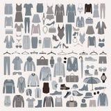 Grupo do ícone da forma da roupa e dos acessórios Homens e roupa das mulheres ilustração do vetor