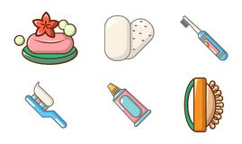 Grupo Do Icone Da Higiene Pessoal Estilo Dos Desenhos Animados