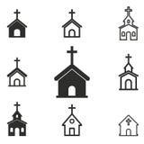 Grupo do ícone da igreja Imagem de Stock