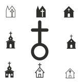 Grupo do ícone da igreja Fotografia de Stock Royalty Free