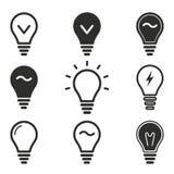 Grupo do ícone da lâmpada Imagem de Stock Royalty Free