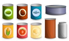 Grupo do ícone da lata de lata, estilo dos desenhos animados ilustração stock