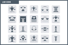 Grupo do ícone da lei do vetor Fotografia de Stock Royalty Free