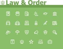 Grupo do ícone da lei e da ordem Fotografia de Stock Royalty Free