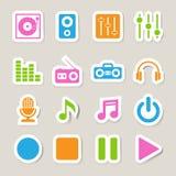 Grupo do ícone da música. Imagem de Stock Royalty Free