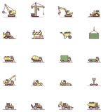 Grupo do ícone da maquinaria de construção Fotografia de Stock
