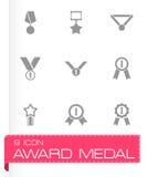 Grupo do ícone da medalha da concessão do preto do vetor Fotos de Stock Royalty Free