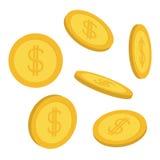 Grupo do ícone da moeda de ouro 3D Queda de voo para baixo chuva do dinheiro do dinheiro Símbolo do sinal de dólar Renda e lucros ilustração royalty free