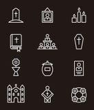 Grupo do ícone da morte e do funeral Fotografia de Stock