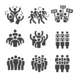 Grupo do ícone da multidão ilustração stock