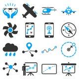 Grupo do ícone da navegação dos aviões Foto de Stock