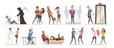Grupo do ícone da obsessão do medo da fobia ilustração royalty free
