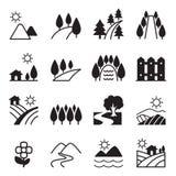 Grupo do ícone da paisagem Ilustração Royalty Free