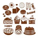 Grupo do ícone da pastelaria Fotografia de Stock Royalty Free