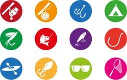 Grupo do ícone da pesca Imagens de Stock Royalty Free