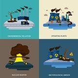 Grupo do ícone da poluição ambiental Imagens de Stock