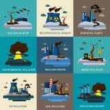 Grupo do ícone da poluição ambiental Imagens de Stock Royalty Free
