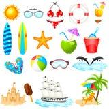 Grupo do ícone da praia Imagem de Stock
