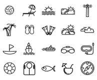 Grupo do ícone da praia com ícone simples ilustração royalty free