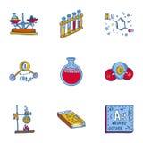 Grupo do ícone da química da escola, estilo tirado mão ilustração royalty free