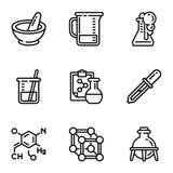 Grupo do ícone da química, estilo do esboço ilustração do vetor